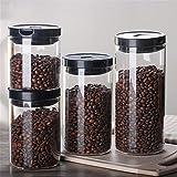 Glasvorratsbehälter versiegelt Dose, mit Deckel Kaffee Tee Getreide Süßigkeiten Aufbewahrungsbox, Feuchtigkeitsspeicher der Küche (4 Stück)