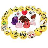 Zindoo Kindergeburtstag 30 Emoji Schlüsselanhänger Plüsch Tasche Anhänger 6cm Spielzeug Plüsch Kissen Geschenke für Kinder, Party Geburtstag Anhänger Dekorationen Zubehör für Taschen und Rucksäcke