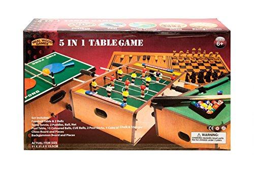 5in 1Tisch Spiel Fußball, Tischtennis Schach Backgammon Pool 3Jahre + Echtholz