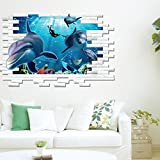 PeiTrade Underwater World 3d Three-dimensional Dolphin Children's Room Bedroom Living Room Wall Stickers Wall Sticker Art Decal Home Room Decor Office Wall Mural Wallpaper Art Sticker Decal Paper Mural for Home Bedroom