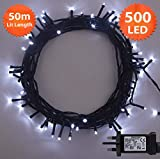Christmas Lights 500 LED 50m Bright White Indoor/Outdoor Fairy Lights String Tree Lights Festival/Bedroom/Party Decorations Memory Timer Mains Powered 164ft Lit Length 10m/32ft Lead Wire Green Cable