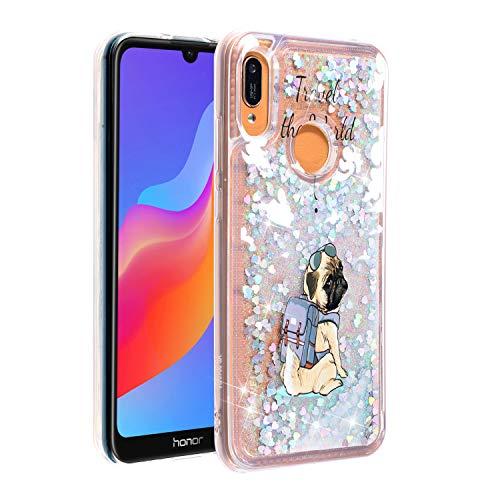 Miagon Flüssig Hülle für Huawei Y6 2019,Glitzer Weich Treibsand Handyhülle Glitter Quicksand Silikon TPU Bumper Schutzhülle Case Cover-Hund