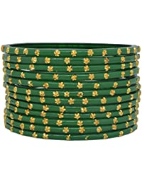 Sylque Classic Green Glass Bangles With Metallic Work (set Of 12)