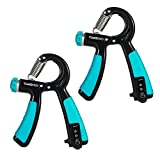 TOMSHOO 2PCS Handtrainer Fitness Fingerhantel Fingertrainer Handgriff 22-88lbs einstellbare Widerstand (Blau)