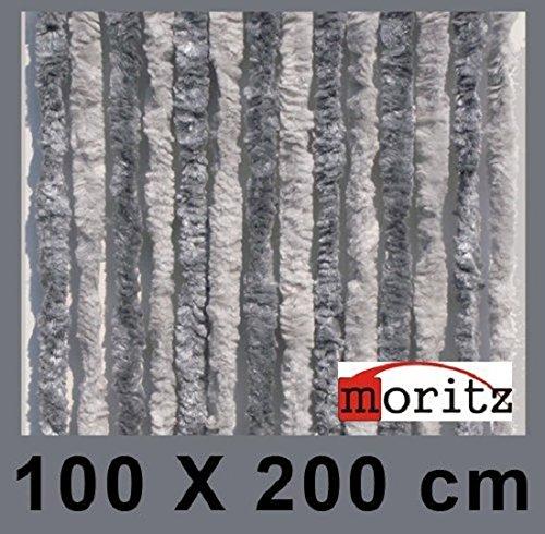Preisvergleich Produktbild Moritz® Chenille Flauschvorhang Fliegenschutz 100 x 200 cm NEU 24 Stränge (hellgrau / grau)