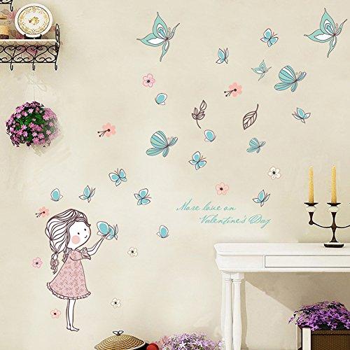 Wallpark Dibujos animados Lindo Niña Liberando Mariposa Desmontable Pegatinas de Pared Etiqueta de la Pared Bebé Niños Hogar Infantiles Dormitorio Vivero DIY Decorativas Adhesivo Arte Murales
