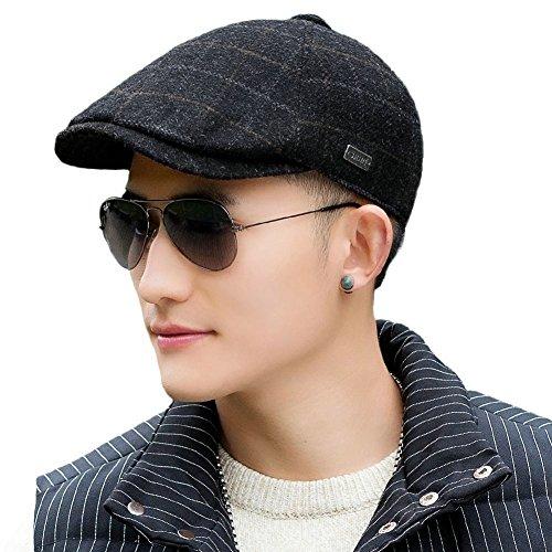 Siggi schwarze Wolle Schirmmütze Flache Duckbill Mütze für Herren Gatsby Fahrer Hut