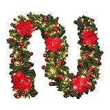 ZZM Weihnachtsgirlande mit beleuchtetem warmweißem Licht für Treppen, Weihnachtsbaum, festlicher Kamin, künstlicher Kranz mit Blume und Schleife Red Battery