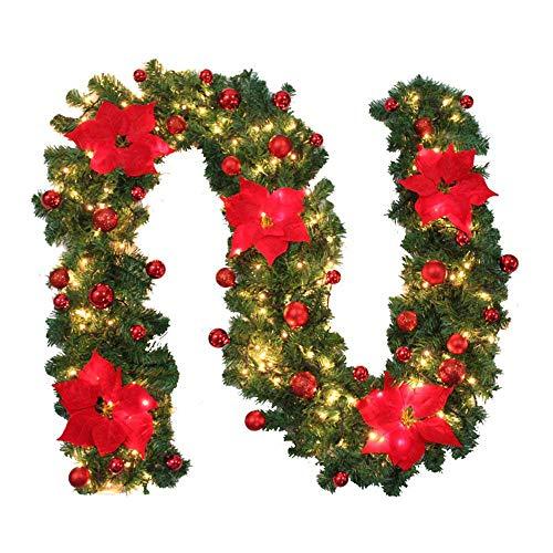 ZZM Guirnalda de Navidad Decorativa con luz Blanca cálida iluminada para escaleras,...