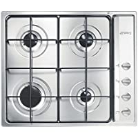Smeg S64S Integrado Encimera de gas Acero inoxidable hobs - Placa (Integrado, Encimera de gas, Acero inoxidable, Acero inoxidable, Esmaltado, 1050 W)