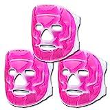 S/O® 3er Set Kühlmasken Pink Gesichtsmaske Kühlmaske Kühlbrille Augenmaske Gelmaske Schlafmaske Entspannungsmaske Gelbrille Migräne Maske Brille