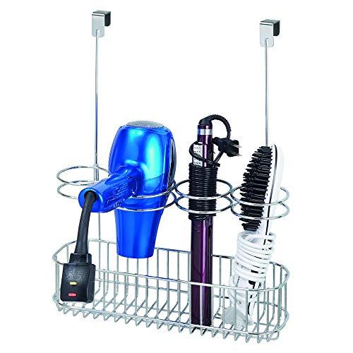 mDesign Fönhalter ohne Bohren - großes Türregal zur Fön Aufbewahrung im Bad - optimaler Badorganizer für Lockenstab, Glätteisen und Haartrockner - silberfarben
