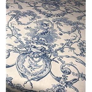 Tischdecke Blau weiß shabby chic 100% Baumwolle in verschiedene Größen.