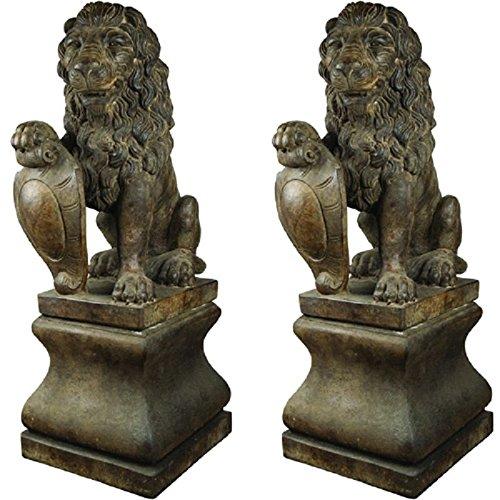 henri-studios-lion-pedestal-fountain-in-relic-lava-set-of-2