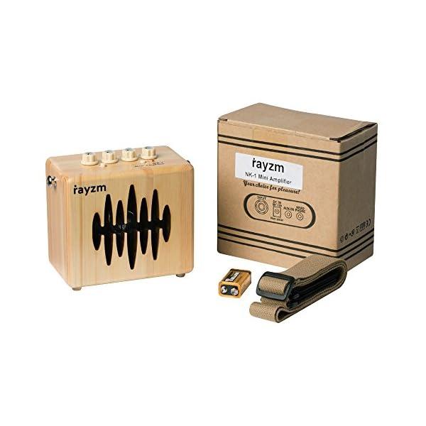 Rayzm Amplificatore Combo Chitarra Elettrica, Amplificatore Mini Pratica da 5 Watt per Chitarra con Tracolla, Adattatore Alimentatore/Jack Aux-in/Headphone, Altoparlante da 4 Pollici, Batteria Inclusa