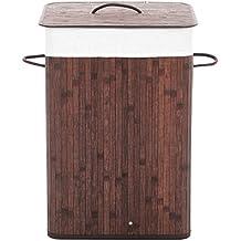 Songmics - Cesto de bambú para la colada, cuadrado, 72 L, 40 x 30 x 60 cm color marrón Canasta para lavandería plegable LCB101