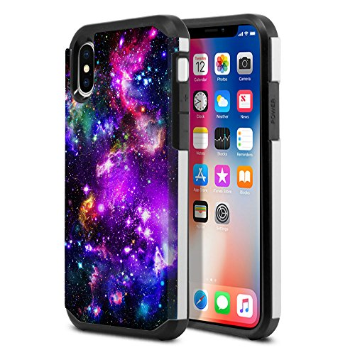 Apple iPhone X 14,7cm Fall, fincibo (TM) Dual Layer Hard Back Hybrid Displayschutzfolie Cover Anti Shock TPU Silikon Skin, Blue Sky Galaxy Nebel, Purple Marvel Nebula Galaxy Iphone Sky Blue Skin