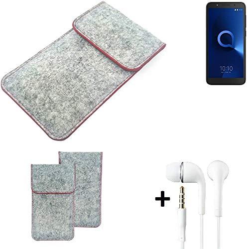 K-S-Trade® Filz Schutz Hülle Für -Alcatel 1C Single SIM- Schutzhülle Filztasche Pouch Tasche Handyhülle Filzhülle Hellgrau Roter Rand + Kopfhörer