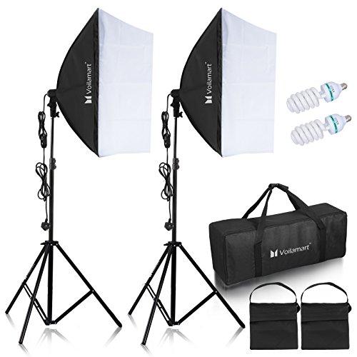 Voilamart Softbox Studioleuchte Set, 60x60cm Dauerlicht Studioleuchte 125W Fotolampe Lampenstativ Sandsack und Tragetasche Kit Profi Fotostudio Set