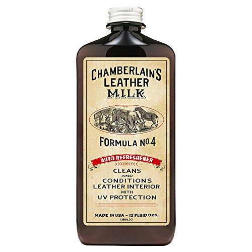 Chamberlain's Leather Milk - Auto Refreshener Nr. 4 - Conditioner/Reiniger für Autoleder - UV-Schutz - Naturbasis/ungiftig - 1 Auftragepad - Hergestellt in Den USA - 2 Größen - 0.35 L -