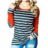 CHENMA Damen Streifen Drucken Baumwoll-Sweatshirt Basic Jumper mit Ellenbogen-Patch