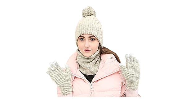 OKSakady Donna Signora Ragazza Inverno Caldo a Maglia Spessa Beanie Cappello  Sciarpa Guanti Tre set con Funzione Touch Screen  Amazon.it  Abbigliamento a02f0fa72f88