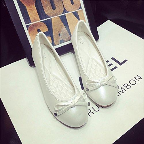 WYMBS Printemps nouvelle télévision quatre saisons ronde bow bow chaussures unique avec télévision bouche peu profonde occasionnels chaussures grande taille, la marque d'une taille plus petite que la  Gold
