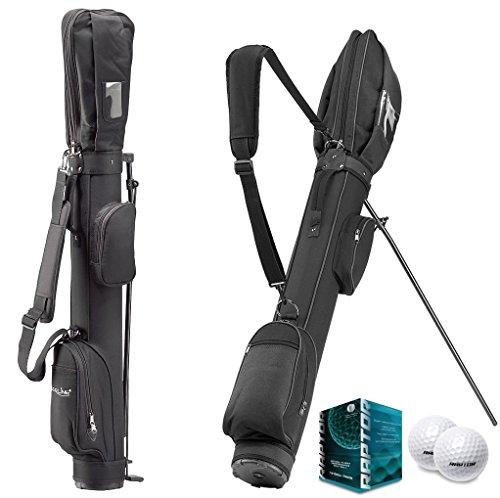 Support et tragebag Sunday avec pieds–Optimal rang ebag pour jusqu'à 8Raquettes + 12x Raptor Balles de golf en blanc