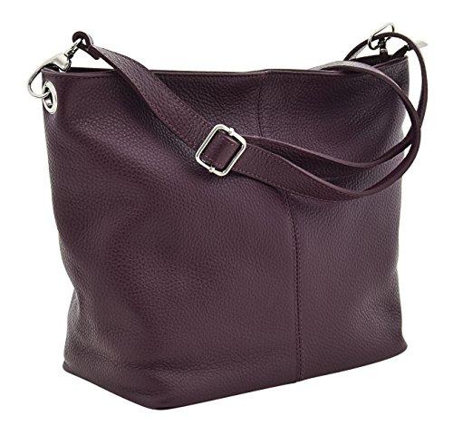 TOSCA Italienische Tasche Schultertaschen Damentasche Handtasche Echt Leder Made Italy Bordeaux