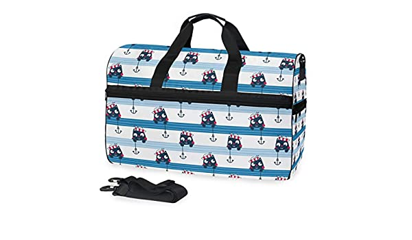 Gym Bag with Cartoon Anchor Sailor Print Travel Weekender Duffel Bag for Man and Woman