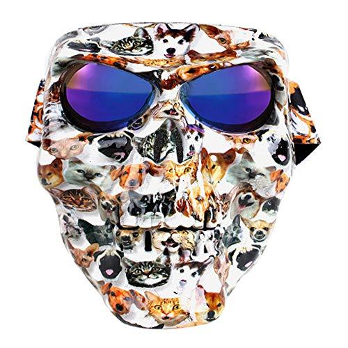 Skull Protective Face Mask Ghost Motorcycle Protective Mask Ski Polarized Goggles Mask Halloween Decoration Riding Skull Mask,E113