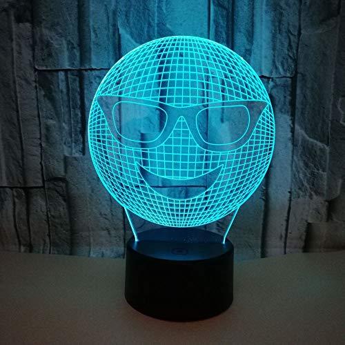 3D LED Licht Nachtlicht Optische Täuschung Lampe Schreibtischlampe Tischlampe Nachtlicht 7 Farben mit Acryl-Ebene ABS Basis USB-Ladegerät Lächelndes Gesicht mit Sonnenbrille