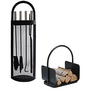 Alpertec 39030860 – Juego de utensilios para chimenea en hierro (2 piezas), color negro