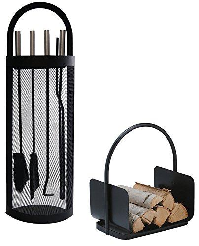 Alpertec 39030860 Kamingarnitur SET in Eisen schwarz und Holzkorb 2 Stück