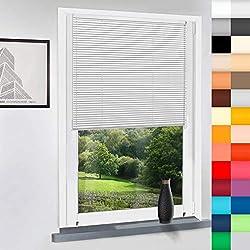 Aluminium Jalousie nach Maß, Endloskette, Kette, Monocomando, Maßanfertigung, für Fenster und Türen, Alu, Fenster, Klemmfix ohne Bohren (Weiß, Höhe: 130cm x Breite: 50cm)
