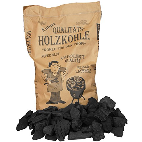 50 x 10 kg LÜBZER Premium Holzkohle, Grillkohle, Kohle - Hartholz Mix - 500 kg Palette mit 2 x 25 Sack