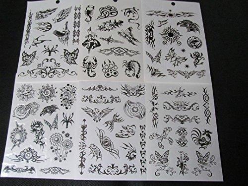 in Buch mit 6 Blättern Herren Jungen Schwarz Keltisch Chinesisch Drachen Tribal Totenköpfe Spinnen Skorpione Tiger oder Mädchen Blumen Schmetterlinge Kunst Tattoos von Fat-Catz-copy-catz - Einheitsgröße, Jungen Buch #18 (Realistisch, Temporäre Tattoos)