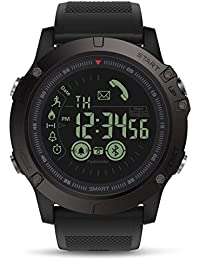 Reloj Digital Inteligente Reloj Deportivo al Aire Libre para Hombres con podómetro Calorías Contador Distancia Cronómetro Reloj Alarma Notificación para Android iOS Teléfono (Negro)
