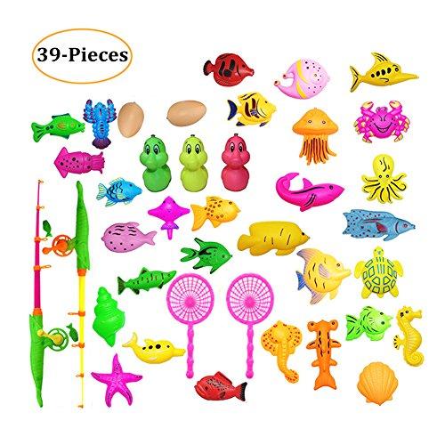 LITOON-UK Angeln Spielzeug Set Badespielzeug Magnetic Angeln Spielzeug, Angeln Spiele für Kinder Lernen Bildung Spielzeug für Kinder Jungen Mädchen Kleinkinder 39 Stk