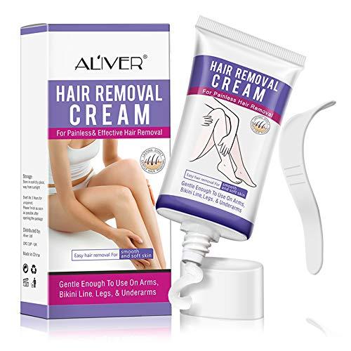 Haarentfernungscreme, Haarentfernung Enthaarungsmittel Schmerzlose Haarentfernung Creme auf Gesicht, Bikini, Unterarm, Lässt die Haut sanft Schnelle und effektive Haarentfernung für seidig-glatte Haut
