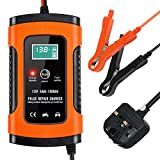 trounistro Car Battery Charger, Battery Charger & Maintainer 12V 5A Fully Automatic Car Charger with LCD Screen, for Cars, Motorcycles, Boat and More, Rescue and Recover Batteries - UK Plug