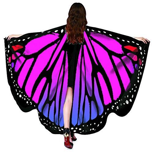 Kostüm Schmetterling Zubehör - NORA TWIPS Schmetterling Kostüm Frauen Weiches Gewebe Schmetterlingsflügel Schal Fee Damen Nymph Pixie Kostüm Zubehör für Show/Daily/Party