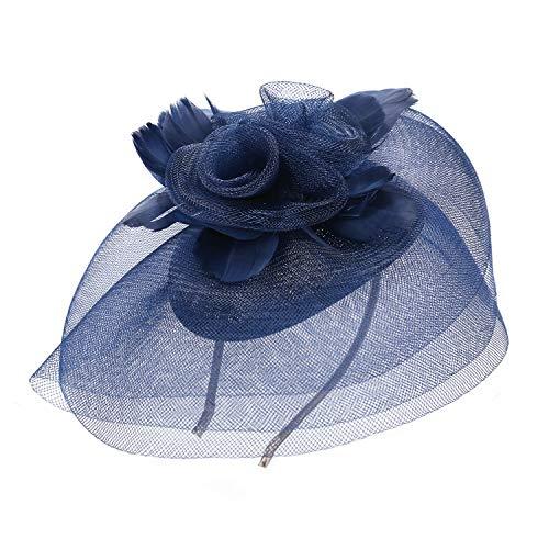 Deevoov - Kopfschmuck für Damen, Alice, mit Blumen und Federn aus Sinamay, Fascinator für Hochzeiten, königliche Pferderennen in Ascot, Cocktailpartys, Pillbox-Hut, Melone Gr. Einheitsgröße, blau