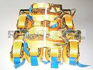 10x 5000kg Sangle d'arrimage 8m en 12195-2Sangles à cliquet Sangles Sangle de serrage à cliquet 2pièces 5T