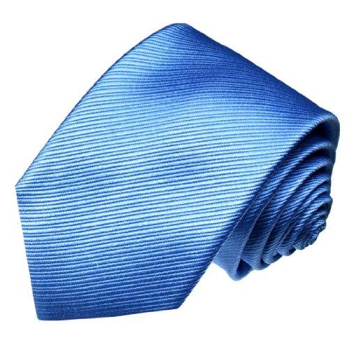 LORENZO CANA - Original Marken Krawatte aus 100% Seide - Seidenkrawatte blau mittelblau uni einfarbig - 77121