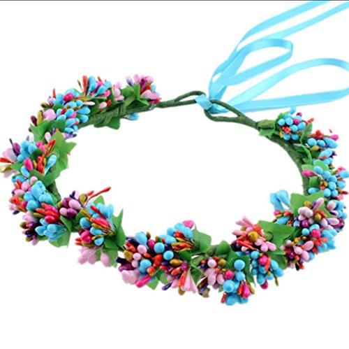 Brauthaarschmuck Farbe kleine frische Blumengirlande Band -Kostüm Kopfschmuck-Haarbänder blau (Kostüm Pearl Bridal Schmuck)