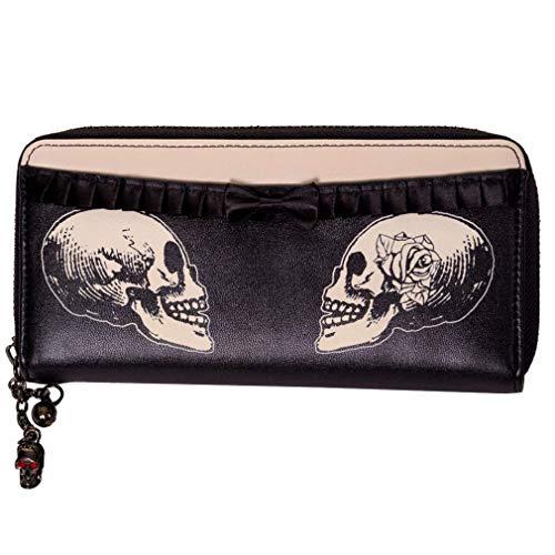 Banned - Damen Tattoo Geldbörse - Double Skull (Schwarz/Beige) -