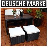 Gartenmöbel PolyRattan DEUTSCHE MARKE -- EIGNENE PRODUKTION Ragnarök-Möbeldesign Essgruppe Tisch mit 2 Stühlen & 2 Hocker Garten Möbel incl. Glas und Sitzkissen