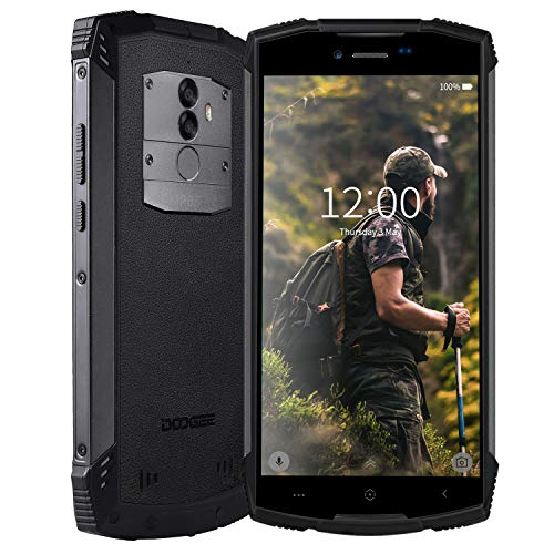 Rugged smartphone in offerta 4g, doogee s55-2019 dual sim cellulare resistenti outdoor 4+64gb android 8.0 batteria 5500mah impermeabile ip68 antipolvere antiurto gps/fingerprint/wifi/faceid-nero