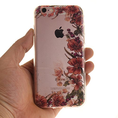 iPhone 6S Hülle,iPhone 6 Hülle,iPhone 6 6S Silikon Hülle [Kratzfeste, Scratch-Resistant], Cozy Hut iPhone 6 6S (4,7 Zoll) Hülle TPU Case Schutzhülle Silikon Crystal Kirstall Clear Case Durchsichtig, F Retro Blume Reben